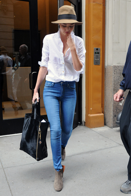 fashion tumblr blogs : PERFECT. No frills here: breezy white shirt, medium blue jeans, boots, and that hat