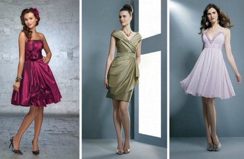 Dresses with different cuts for the guests of a wedding. Demetrios 2012
