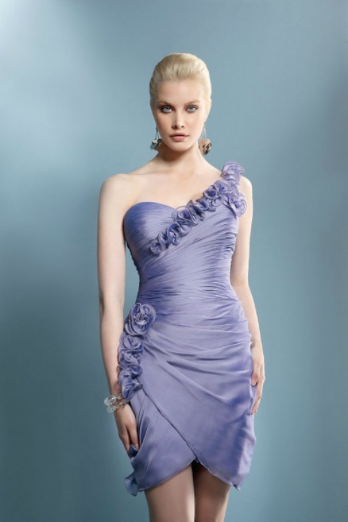 Asymmetrical dress in lavender. Collection Demetrios 2012