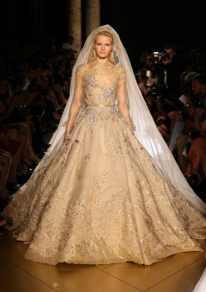 Elie Saab wedding dress 2013, champagne color