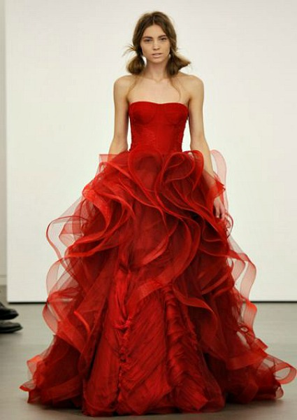 Red wedding dress, Vera Wang 2013