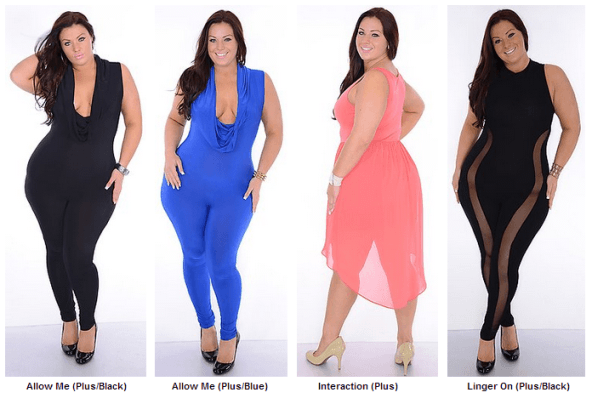 Plus-size-club-wear-for-young-Women-Black-Blue-Pink