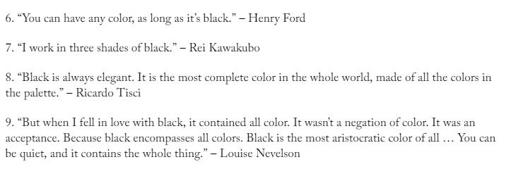 Quotes on black color dress