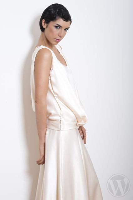 Wedding dress with suspenders - Odile Leonard 2012